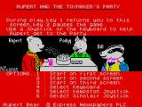 Rupert and the Toymaker's Party ZX Spectrum Main menu