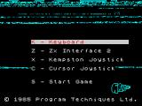 Xcel ZX Spectrum Main menu