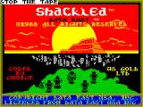 Shackled ZX Spectrum This screen displays as the game loads. At the end the 'STOP THE TAPE' message is added to the top.