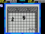 Shackled ZX Spectrum This enemy just appeared by apparently walking through the wall. There are prisoners behind the two doors at the top of the screen that were missed in this game