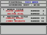 World Championship Boxing Manager ZX Spectrum This is the fight diary. There are fights next week and there's nothing involving Moby's fighters