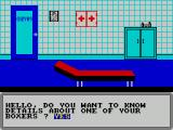 World Championship Boxing Manager ZX Spectrum This is the Physio room where details on a boxers condition can be checked. A response of No takes the player back to the corridor