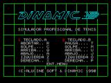 Professional Tennis Simulator ZX Spectrum Controles: Option 1 from the main menu shows the keyboard controls for each player