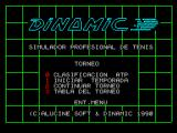Professional Tennis Simulator ZX Spectrum The tournament menu Option 1 from this menu allows the player(s) to set up their names in the tournament. The player(s) then show on the ranking table.