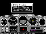 Chuck Yeager's Advanced Flight Simulator ZX Spectrum This is the main game menu. The manual says that the 'Into Flight' is called a Demo on other machines. Some menus such as Option, Eye, Zoom that are present on other machines are not available