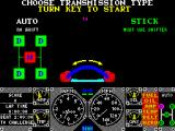Hard Drivin' ZX Spectrum When the ignition has been started the game wants to know if the player prefers a manual or an automatic gear shift.