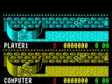 Rad Ramp Racer ZX Spectrum Option 1 - the player is skating against the computer who's playing as the BMX bike. The red number is a countdown timer to the start of the race