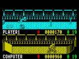 Rad Ramp Racer ZX Spectrum .. but bonuses are not collected by diving on them. It may look as if there's no way the skate board has collided with the oil drum, but it does re-bound on impact