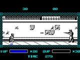The Ninja Warriors ZX Spectrum The game starts here. Bad guys come at him from the left as soon as the game starts. Crouching keeps him below the path of the bullets