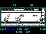 The Ninja Warriors ZX Spectrum Ninja man causes damage at a distance with throwing stars. Up above, however, the bad guys are throwing grenades
