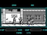 The Ninja Warriors ZX Spectrum The unsightly blob is Ninja man self destructing. After this the player is taken to the main menu