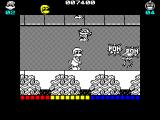 Dynamite Düx ZX Spectrum One bomb stops two monkeys at a time and leaves behind a burger, aka health power up.