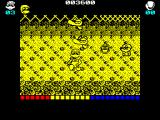 Dynamite Düx ZX Spectrum Start of level 2. The score does not increase so there's no end of level bonus. The weapons are lost but health is restored and lives are back up to 3