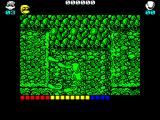 Dynamite Düx ZX Spectrum Start of level 3. Trapped in a pit with a few dogs and a bomb thrower off to the right