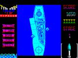 Ajax ZX Spectrum There she is in all her glory. Salvos of missiles come up from the ship and the game is now about hosing the ship down with fire while avoiding them.