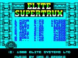 Super Trux ZX Spectrum 128 K Hi Score table. 