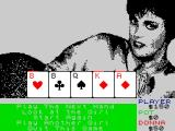 Strip Poker II Plus ZX Spectrum After playing a hand, you can choose to continue, quit, have a look at the girl or pick another opponent.