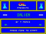 I-Alien ZX Spectrum When the game has loaded the player is presented with this screen. When the space bar, or any of the other keys that act as a FIRE button are pressed the game starts