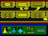 I-Alien ZX Spectrum Alien's icon in the lower left is showing yellow because he/she has just been frozen by an ice dragon