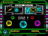 Galaxy Force II ZX Spectrum ... followed by the game start screen. This screen, or ones like it, are shown at the end / start of each level. The player presses FIRE to start and there's some more loading before the actual game