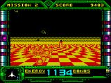 Galaxy Force II ZX Spectrum Mission 2 starts off in a different colour. There are asteroids crashing in from the left and columns near the ground