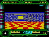 Galaxy Force II ZX Spectrum Very suddenly the red plain ends and we're flying through corridors again. The white ahead is not the end of the tunnel, its an illusion. On this level all tunnels are longer and they turn