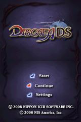 Disgaea DS Nintendo DS Title screen with main menu.