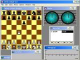 Chess Champ Windows Top down view, classic piece set and clock