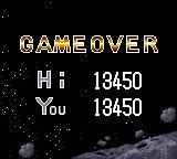Halley Wars Game Gear Game over with score