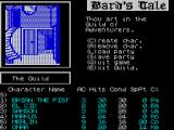 Tales of the Unknown: Volume I - The Bard's Tale ZX Spectrum There is no pretty load screen. The game loads quickly and this is the start, in the Guild of Adventurers with a default party