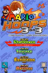 Mario Hoops 3 on 3 Nintendo DS Title screen with main menu.
