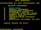 PHM Pegasus ZX Spectrum This is the game's main menu. Most of the game screen shots come from the demo mode