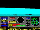 PHM Pegasus ZX Spectrum In manoeuvre mode, turning right. On the left of the radar are the speed indicators and on the far left are the weapons & fuel status displays