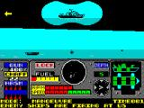 PHM Pegasus ZX Spectrum Ships are firing now. The target ship comes up in the binocular view. The arrow at the side indicates which way to turn to fire at the target
