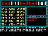 Majik ZX Spectrum Selecting the menu option on the far right brings up a list of all the available actions. all arrow keys, 5,6,7, & 8 are used to move around this menu. Here Piradon had LOOKed at Waldo