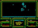 Meganova ZX Spectrum The space ship separated and collided - game over again. Losing a life always restarts at the very beginning. Game over returns to the main menu