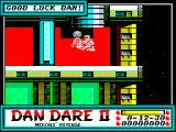 Dan Dare II: Mekon's Revenge ZX Spectrum This is the start of the game. Dan is in a hover thing with a gun. When the door opens he's off exploring the maze