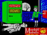 Moonlight Madness ZX Spectrum At the end of loading the game waits at this screen for the player to press a key. The combination randomly rotates as it does so. When all lives are lost the player returns here