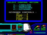Techno Cop ZX Spectrum After some more tape stopping & starting the main menu is displayed. This alternates with the Hi-Score table until the player selects a controller, then side 2 of the tape must be loaded
