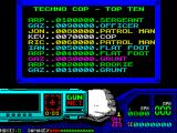Techno Cop ZX Spectrum This is the default Hi-Score screen. 10000 points is needed to make it to the lowest level! That's going to take some doing. After this the player must load side 2 of the tape