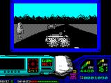 Techno Cop ZX Spectrum The driving bit is fine. The player gets points for shooting up any car on the road. Here Technocop is driving through the wreckage of one such car