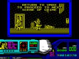 Techno Cop ZX Spectrum Another message from control. This does not stop Technocop from picking up any bonus items that are lying around. To get back to the car he must go back the way he came in