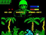 GI Hero ZX Spectrum GI can only shoot when crouching. The bad guys die first shot. GI has limited ammo and a bullet is lost from the top left display for each shot