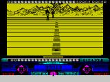 Space Racer ZX Spectrum Using the Sinclair Joystick, forward takes the player higher, down goes lower, the FIRE key accelerates and the space bar fires. Going higher also seems to mean going slower
