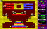 Bubble Pop DOS Level 3. One player in the lower right has just been zapped, the other is in the top left floating down to join the fun