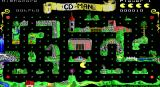 CD-Man Version 2.0 DOS Pre-release shareware version showing The Enchanted Forest level with Pac Man