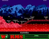Worms Amiga CD32 Battling it out on Mars.