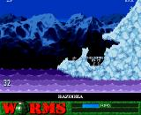 Worms Amiga CD32 Arctic level.