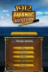 1912: Titanic Mystery Nintendo DS Title and menu screens.