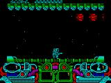 Dark Fusion ZX Spectrum Landed and already there are alien ships, bit small aren't they, buzzing around. The two bars at the bottom left / right are laser power up meter & energy remaining